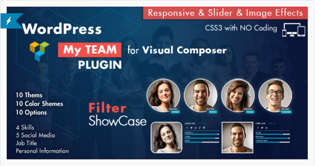 Team Showcase for Visual Composer WordPress Plugin WordPress