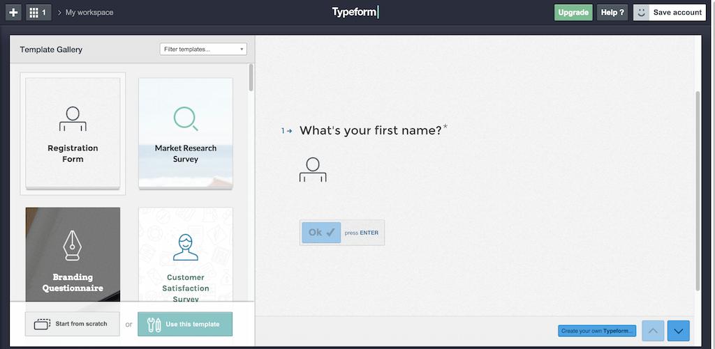 Template Gallery Typeform