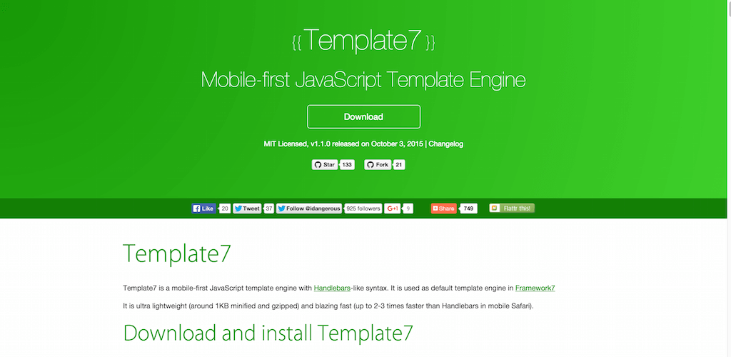 Template7 Mobile first JavaScript Template Engine