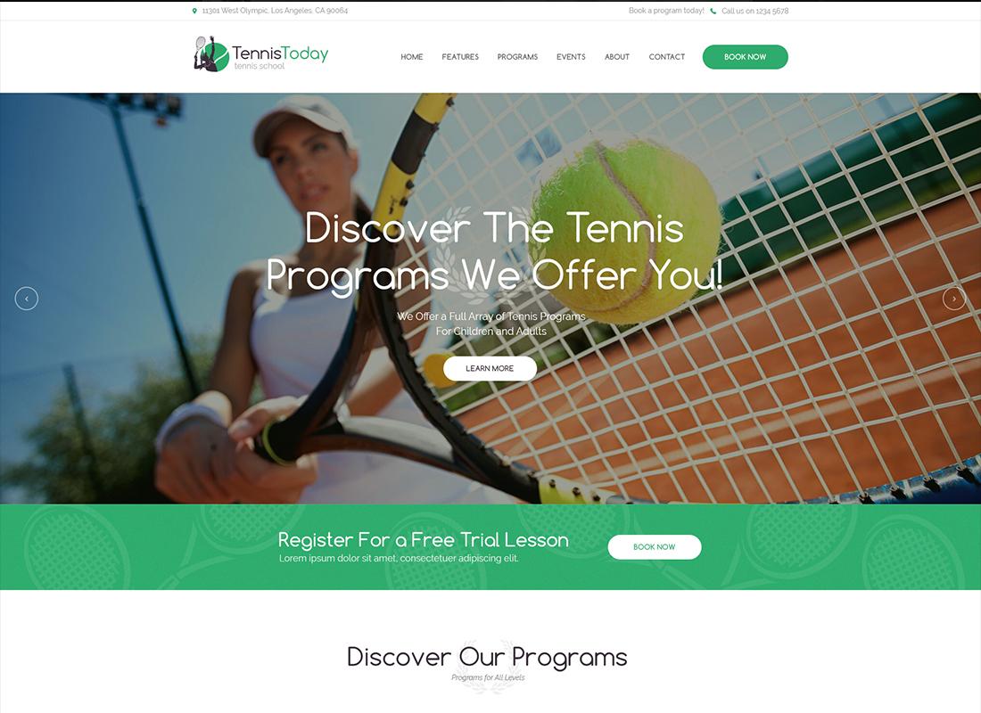 Tennis Today - Sport School & Events WordPress Theme