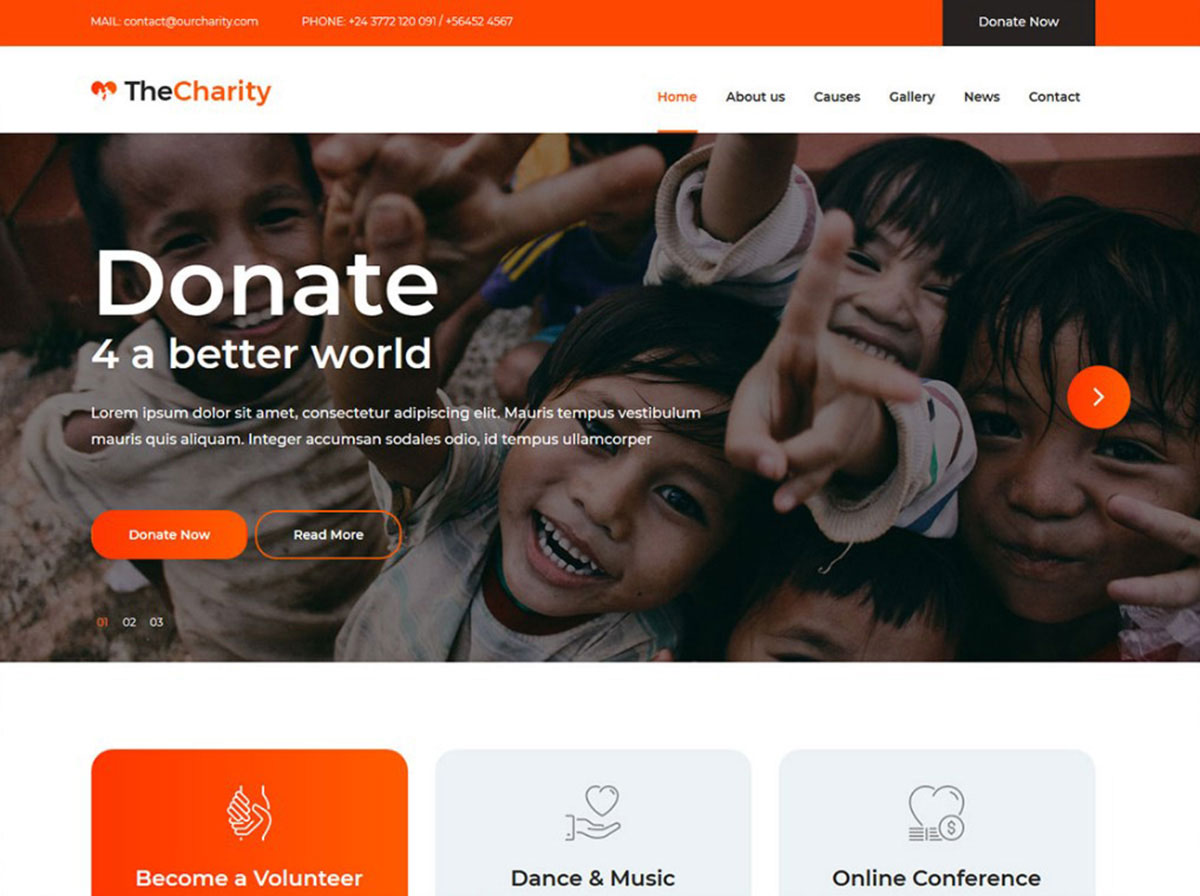 The Charity free ngo website template image