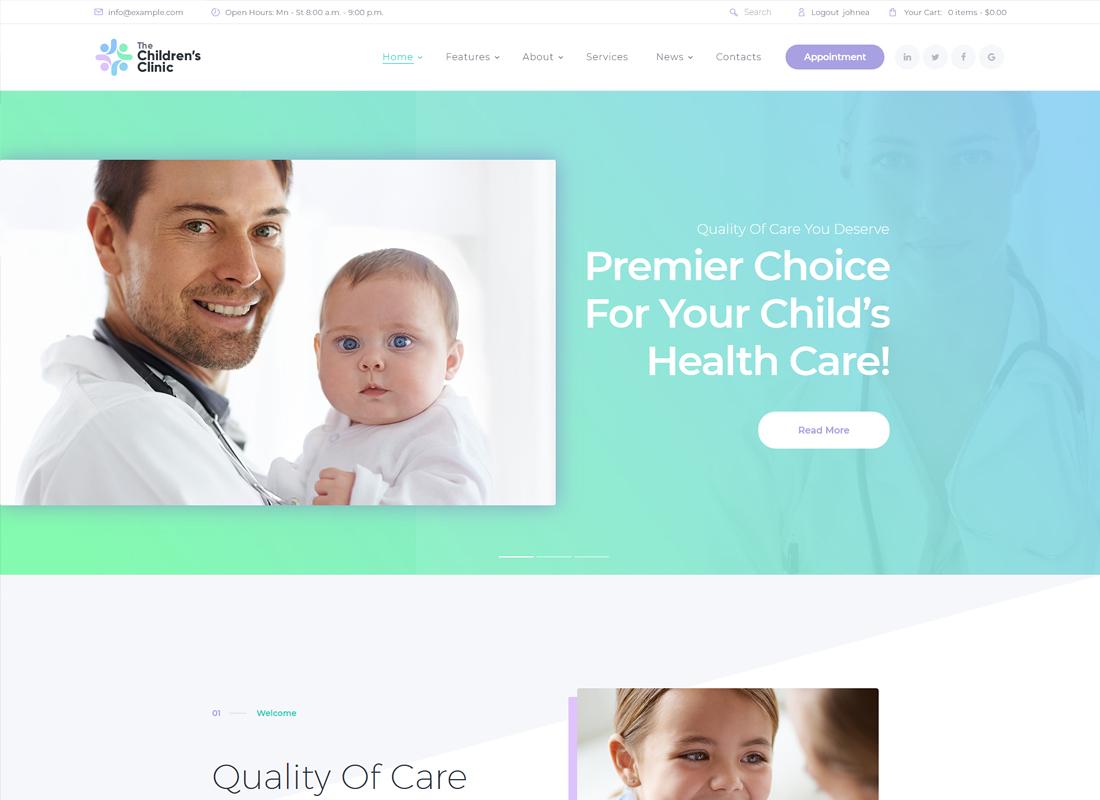 The Children's Clinic | Health Care WordPress Theme
