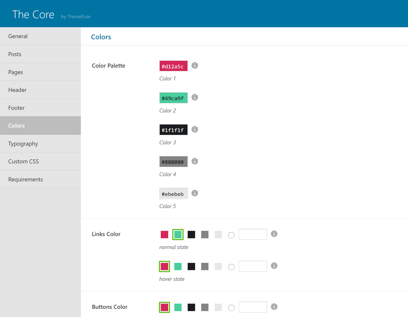 The Core Color Settings