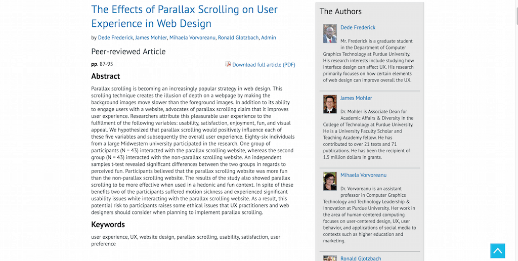 The Effects of Parallax Scrolling on User Experience in Web Design