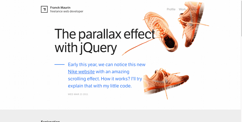 The parallax effect with jQuery
