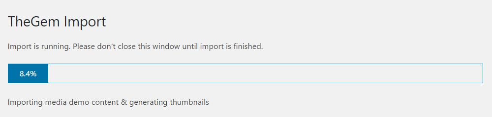TheGem Demo Import Progress