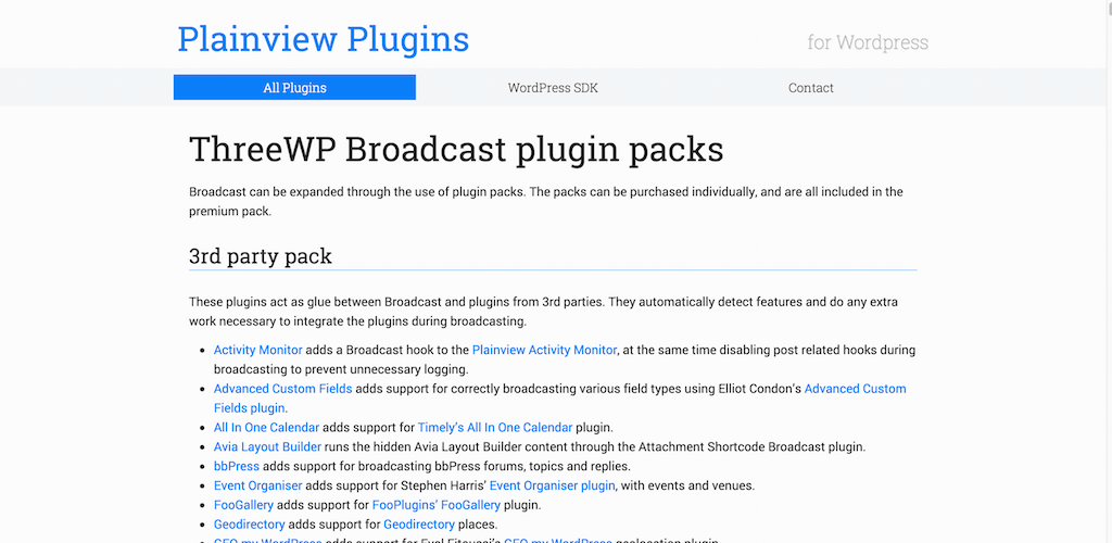 ThreeWP Broadcast plugin packs Plainview Plugins