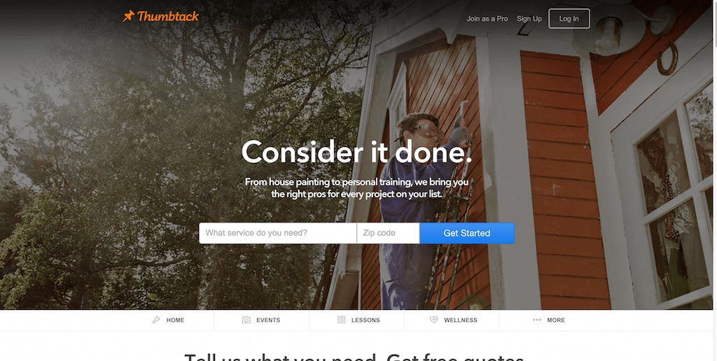 Thumbtack Accomplish your personal projects