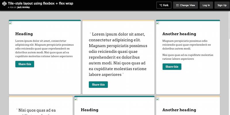 Tile Style Layout with Flexbox and Flex Wrap