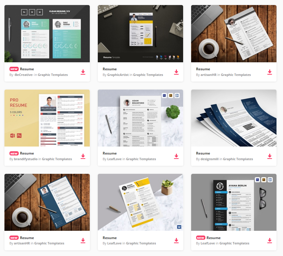 all the resume templates you need and many other design elements are available for a single monthly subscription by signing up to envato elements