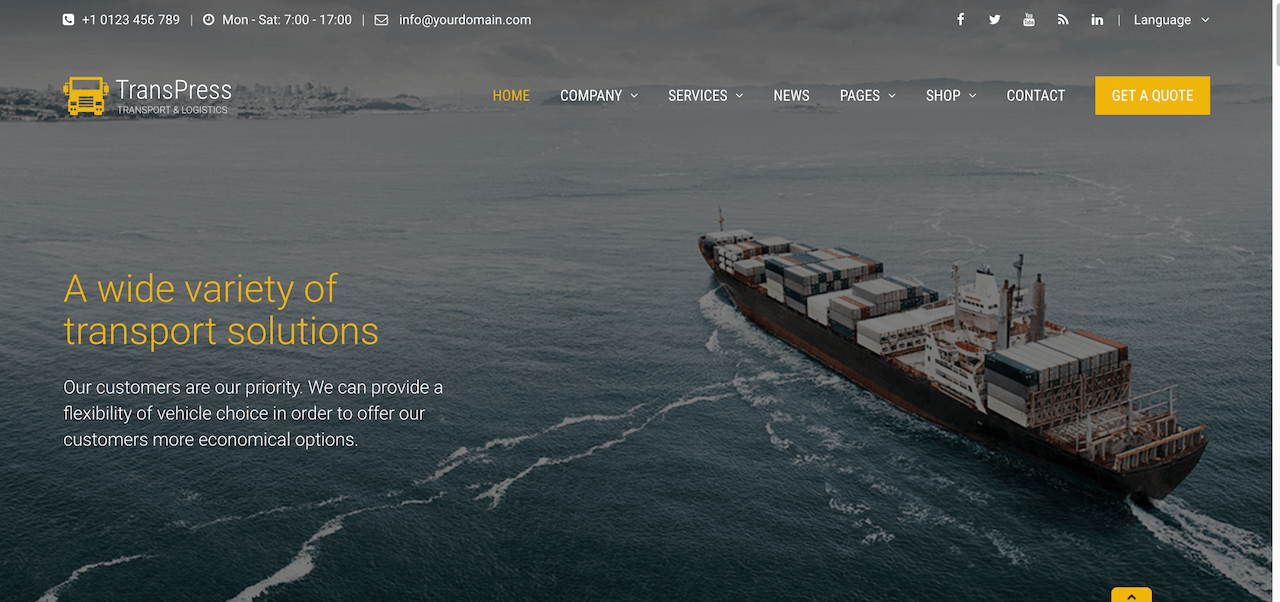 TransPress Ultimate Transport Logistics Warehouse WP Theme