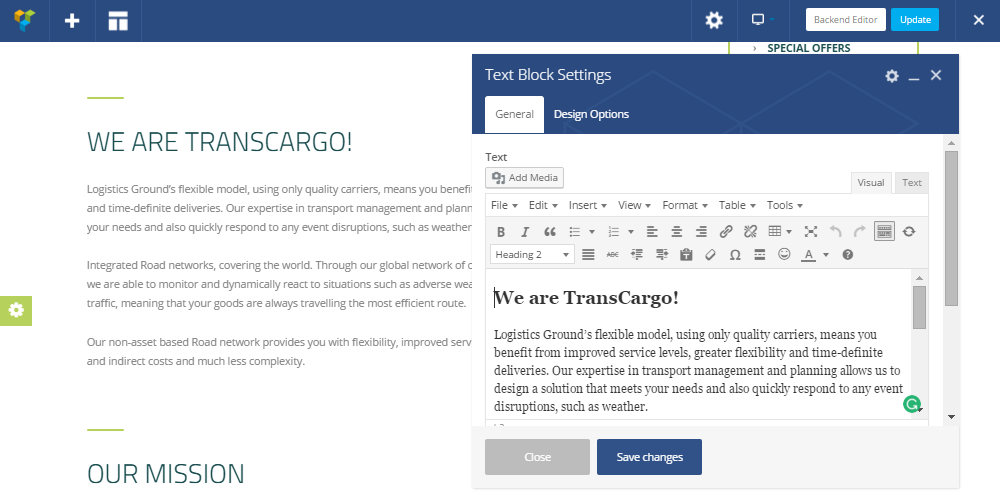 Transcargo Review Visual Composer