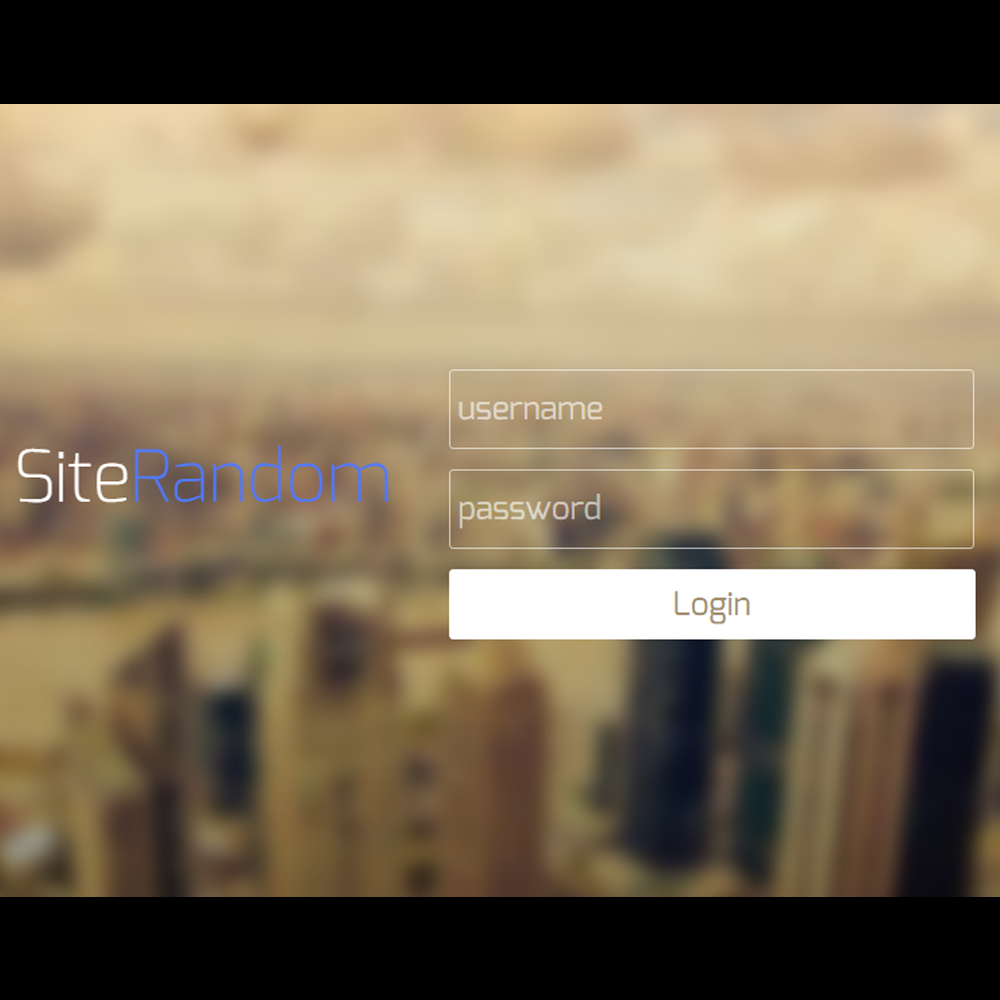 Transparent Site Login HTML5