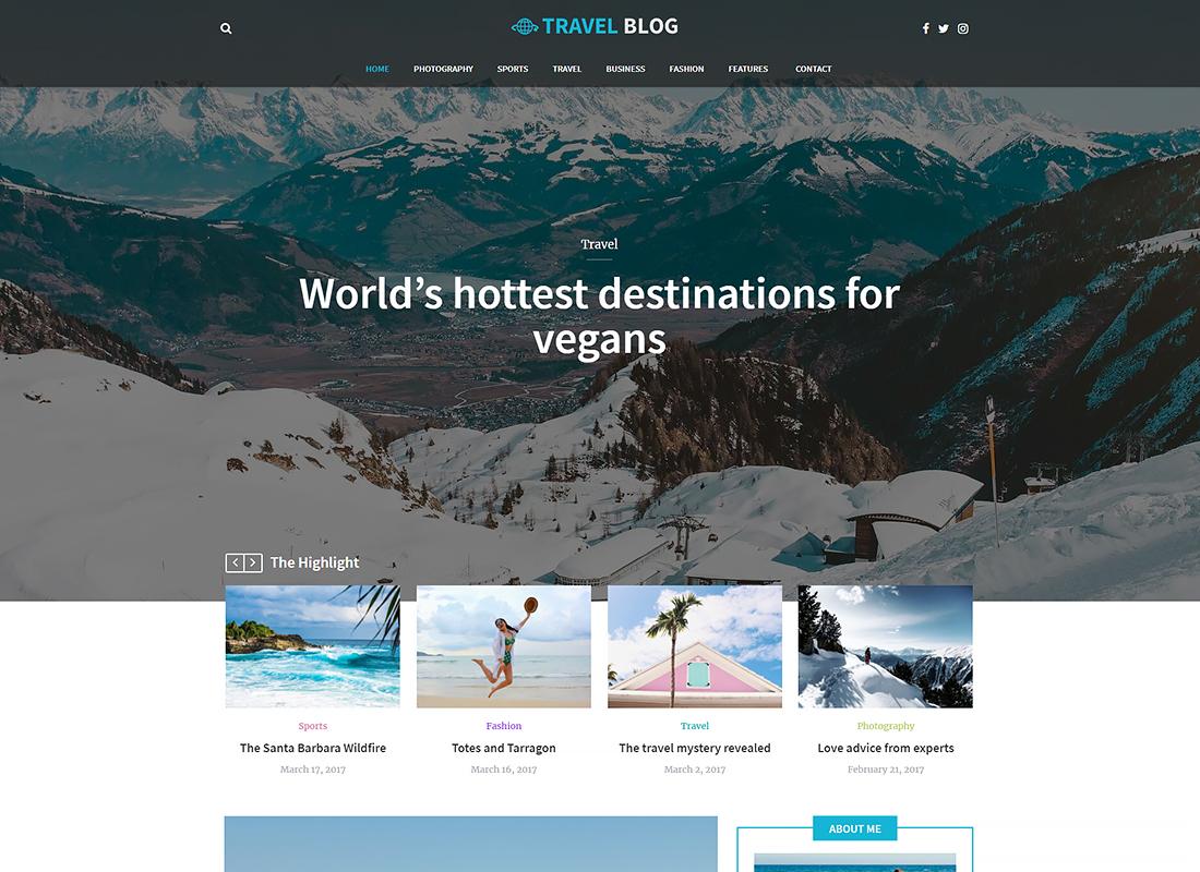 Travel Blog - Travel Blog WordPress Theme
