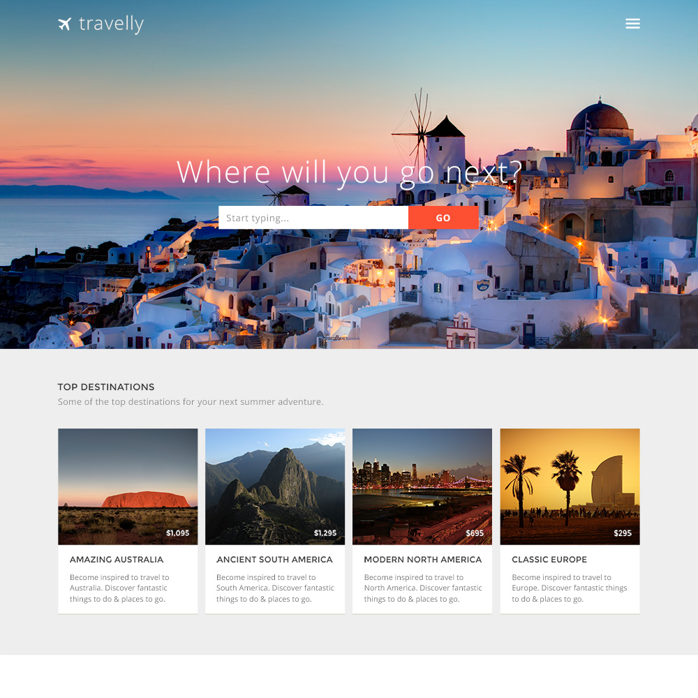 Travelly PSD One Page Template