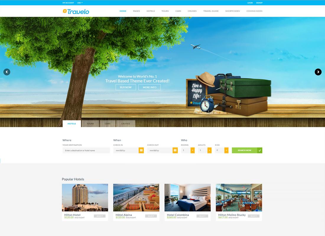 Travelo - Travel/Tour/Car Rental/Cruise Booking WordPress Theme