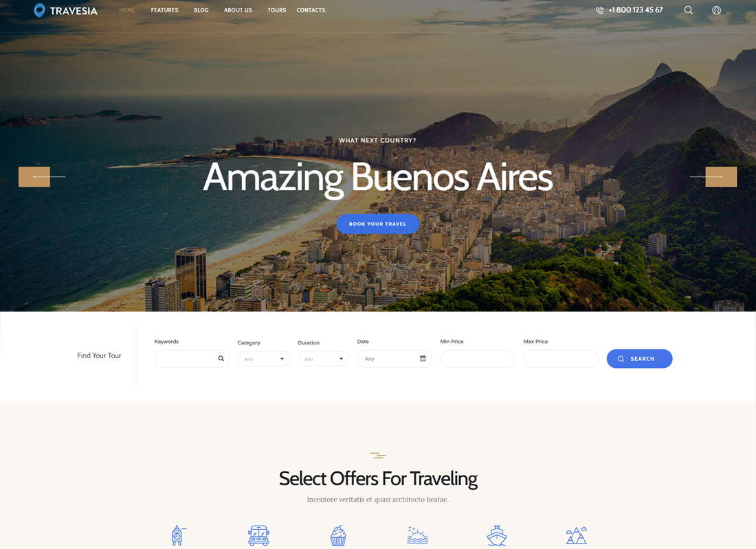 Travesia - A Travel Agency WordPress Theme