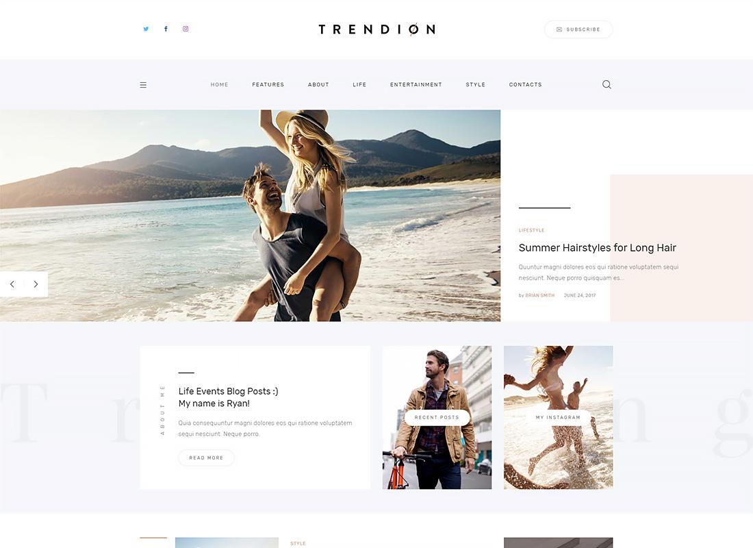 Trendion - A Personal Lifestyle Blog and Magazine WordPress Theme
