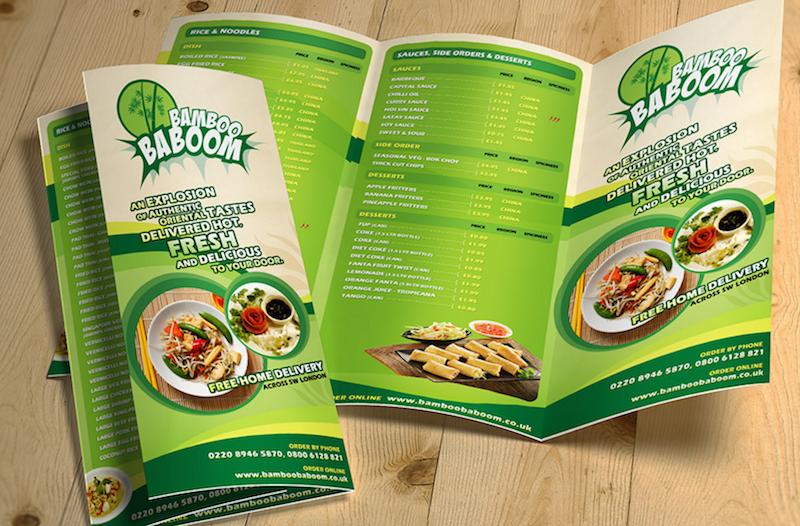 Tri-Fold Restaurant Food Menu Template Free PSD