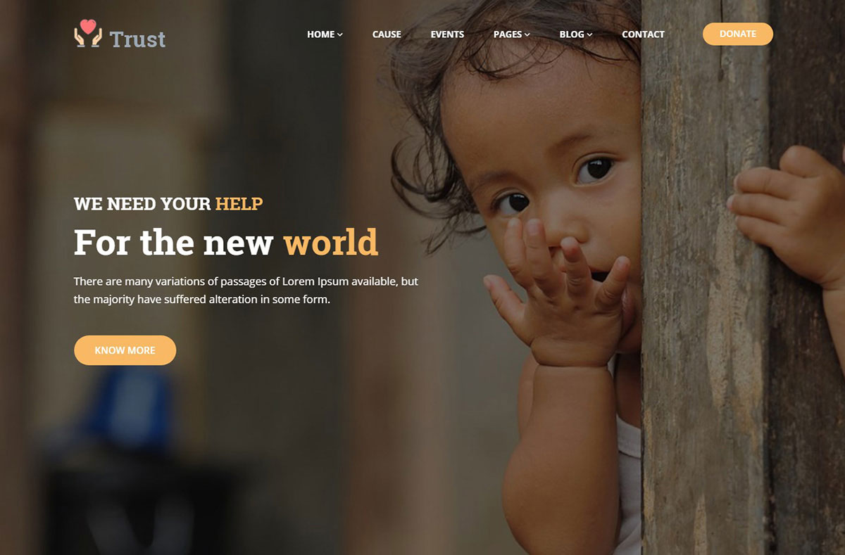 Trust Non-profit Charity Website Template image