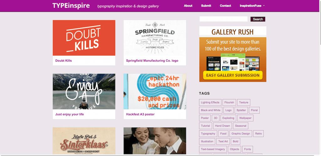TypeInspire typography inspiration design gallery