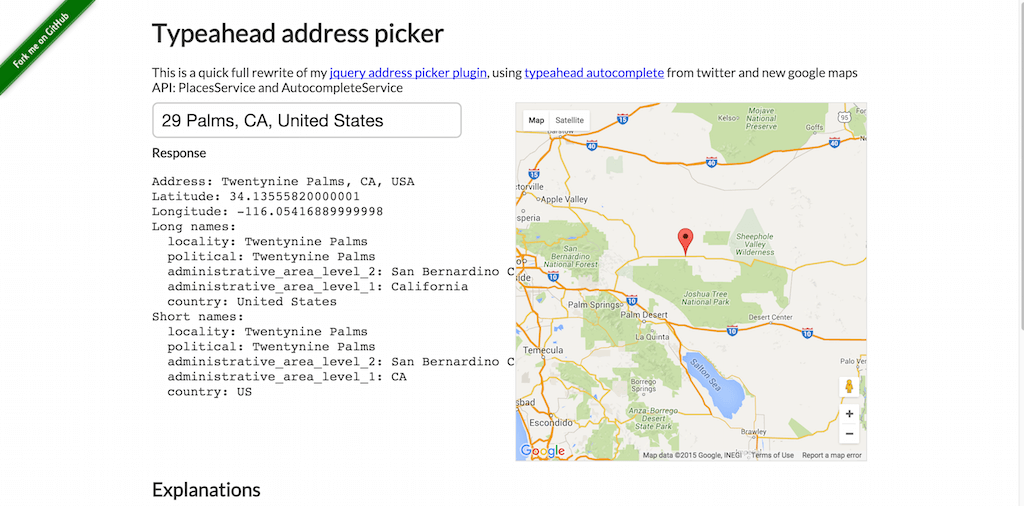 Typeahead Address Picker