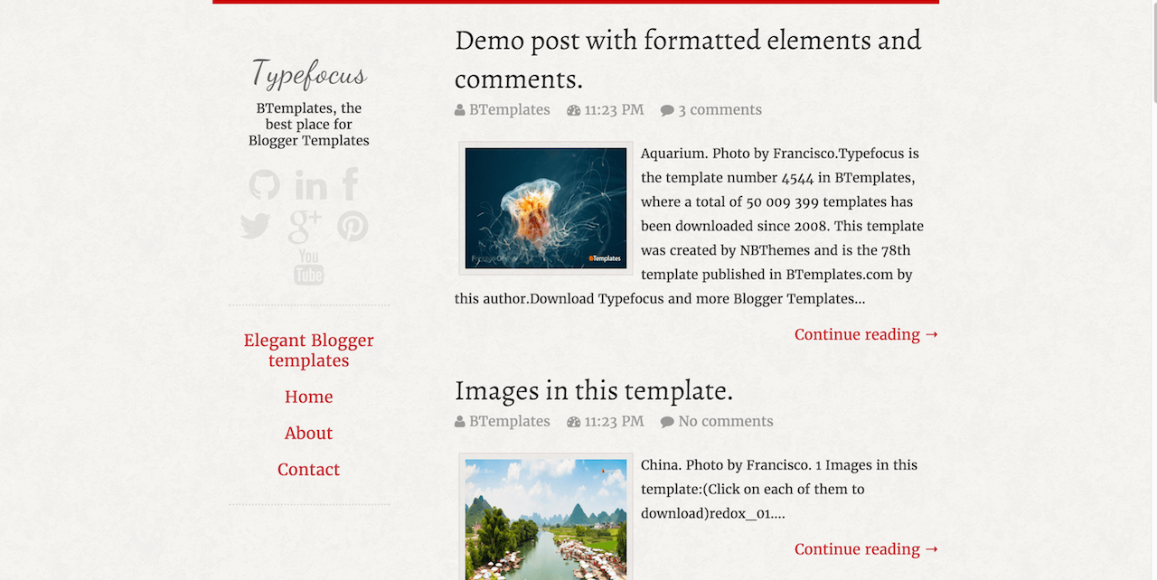 Typefocus Blogger template BTemplates