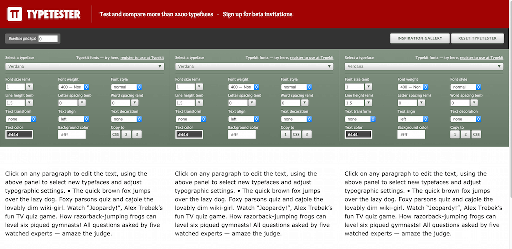 Typetester – Compare and test Web fonts from Adobe Edge Google and Typekit web hosting services