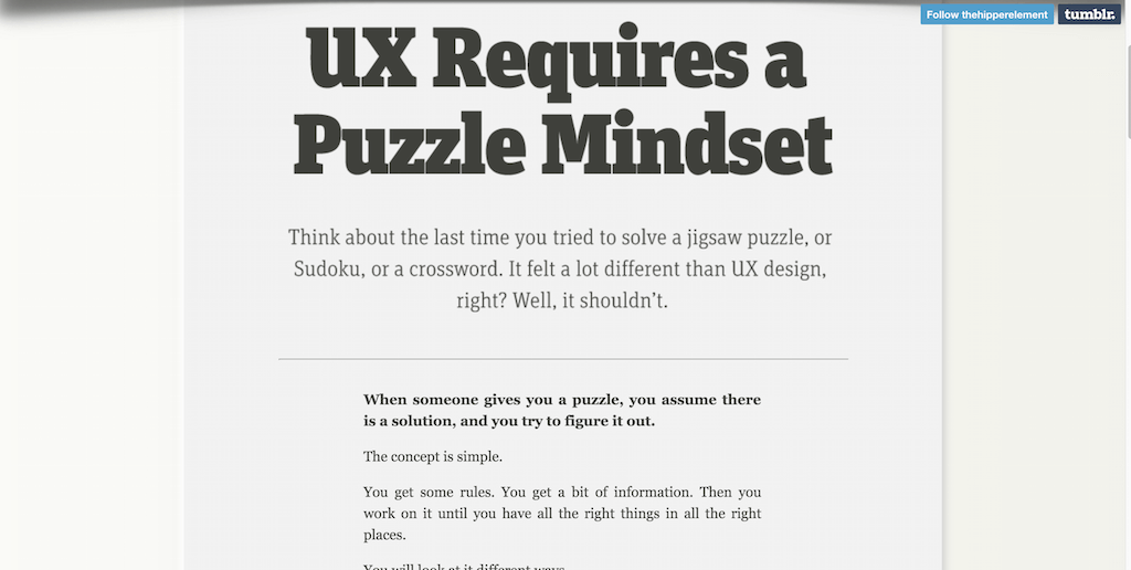 UX Requires a Puzzle Mindset