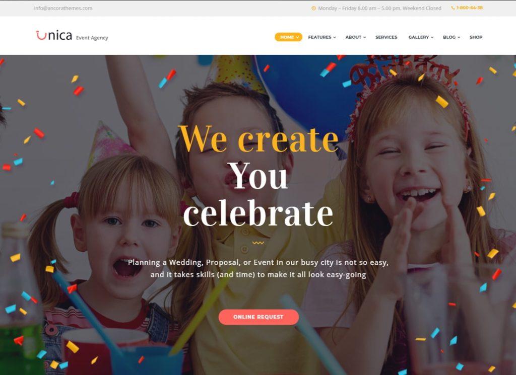 Unica | Event Planning Birthday & Wedding Agency WordPress Theme