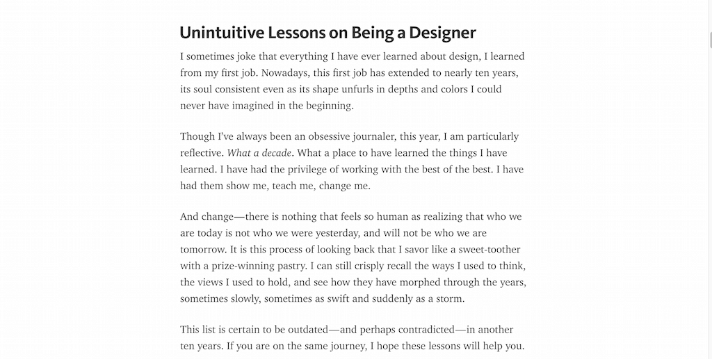 Unintuitive Lessons on Being a Designer