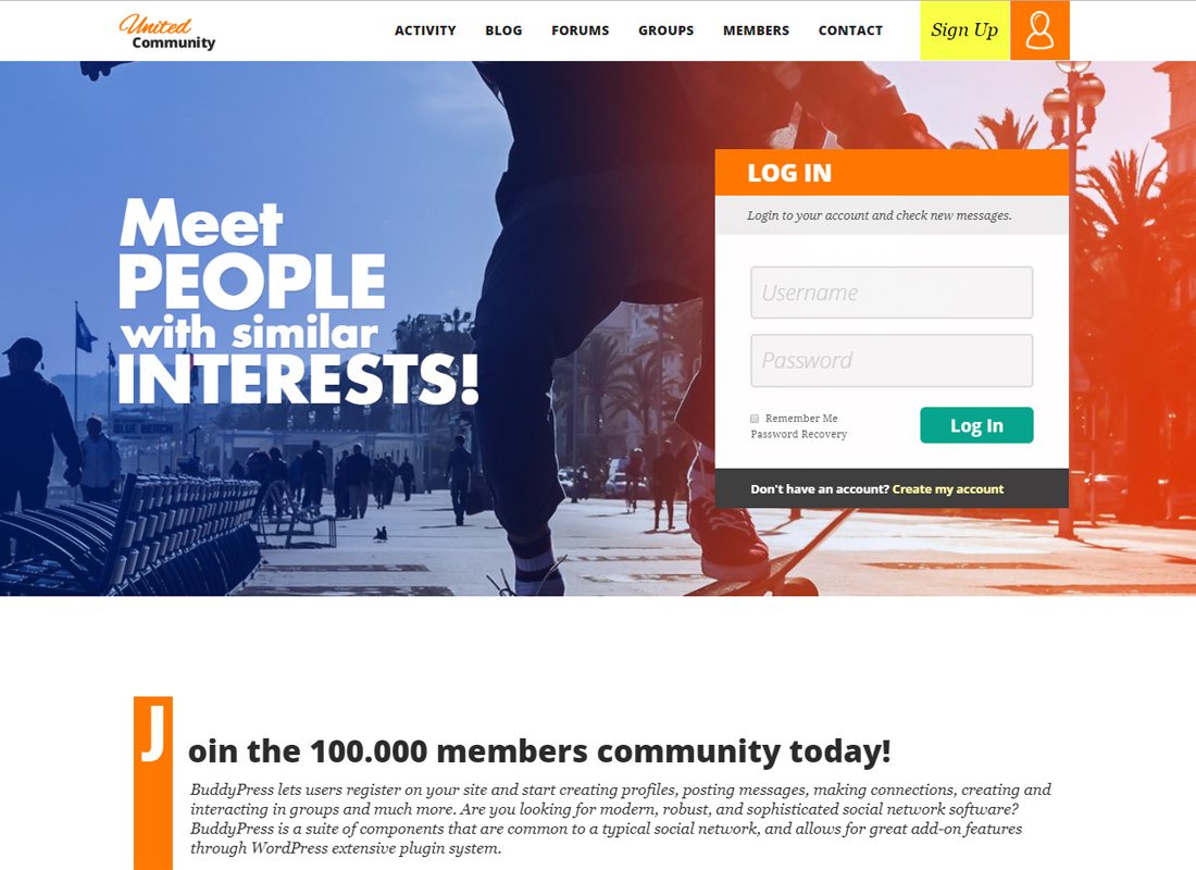 UnitedCommunity   BuddyPress Theme