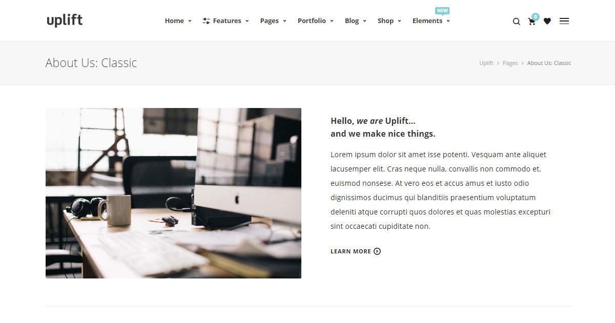 Uplift WordPress Theme Review Main Demo