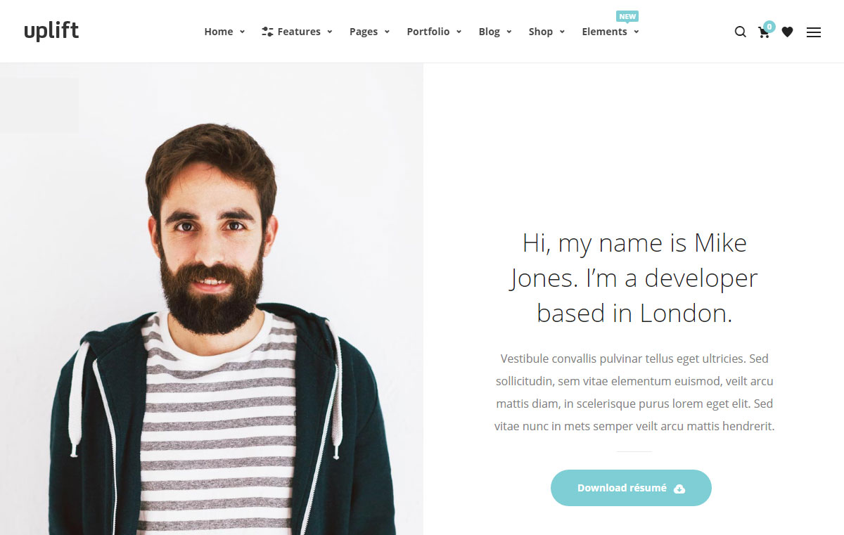 Uplift WordPress Theme Review Page Template
