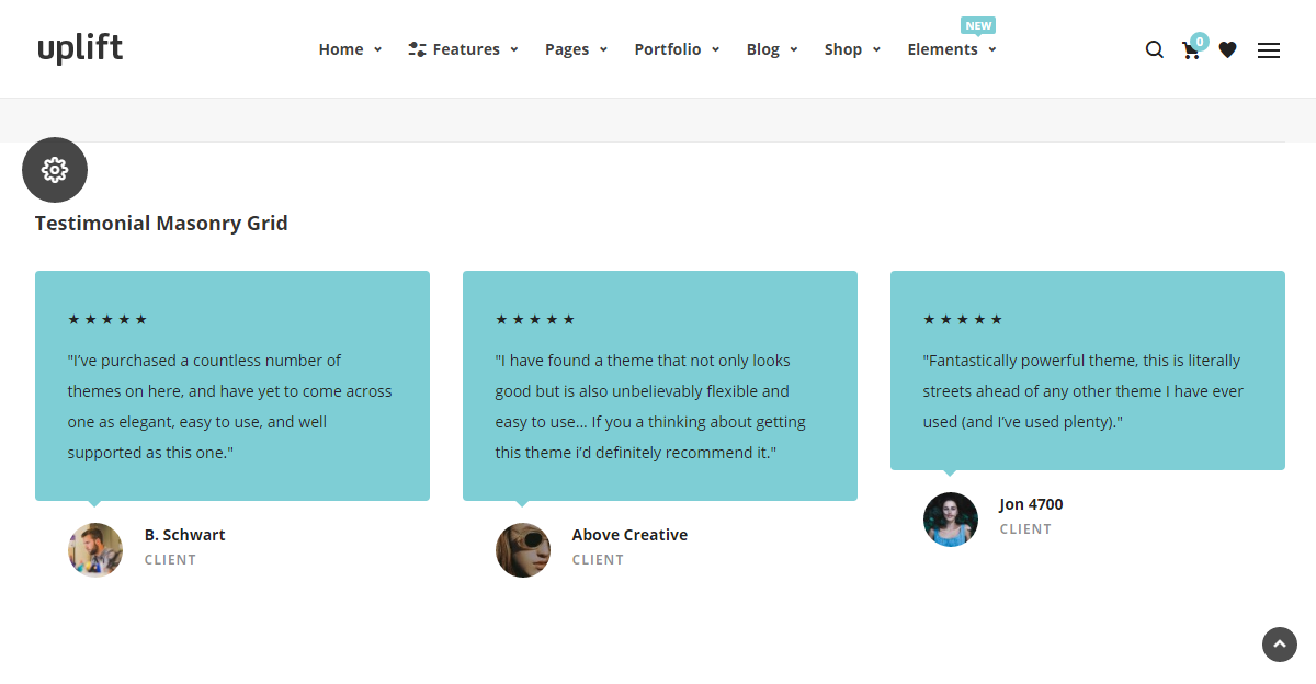 Uplift WordPress Theme Review Testimonials