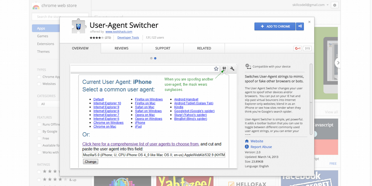 User Agent Switcher Chrome Web Store