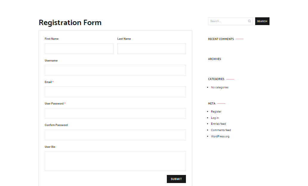 Register your name, email, and more using User Registration