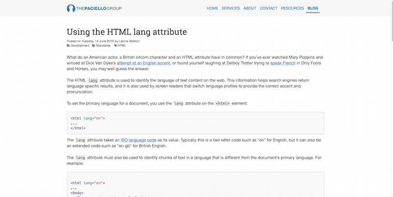 Using the HTML lang attribute