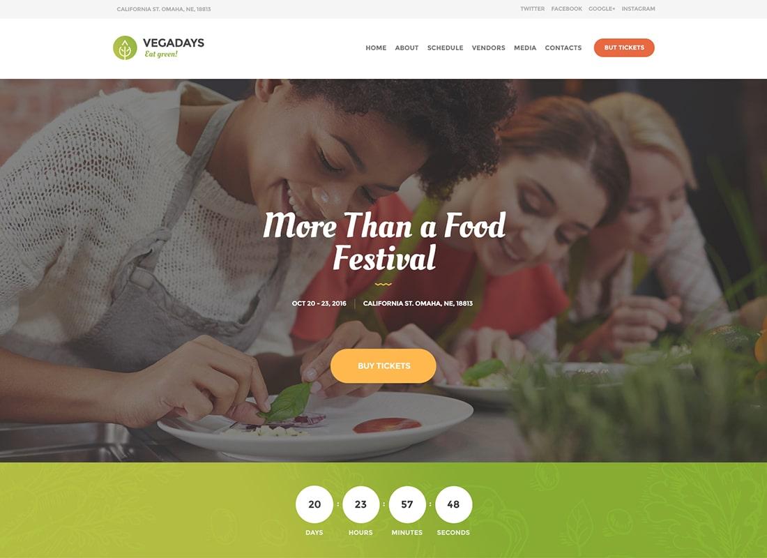VegaDays - Vegetarian Food Festival & Event WordPress Theme