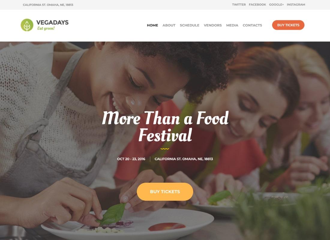VegaDays | Vegetarian Food Festival & Event WordPress Theme