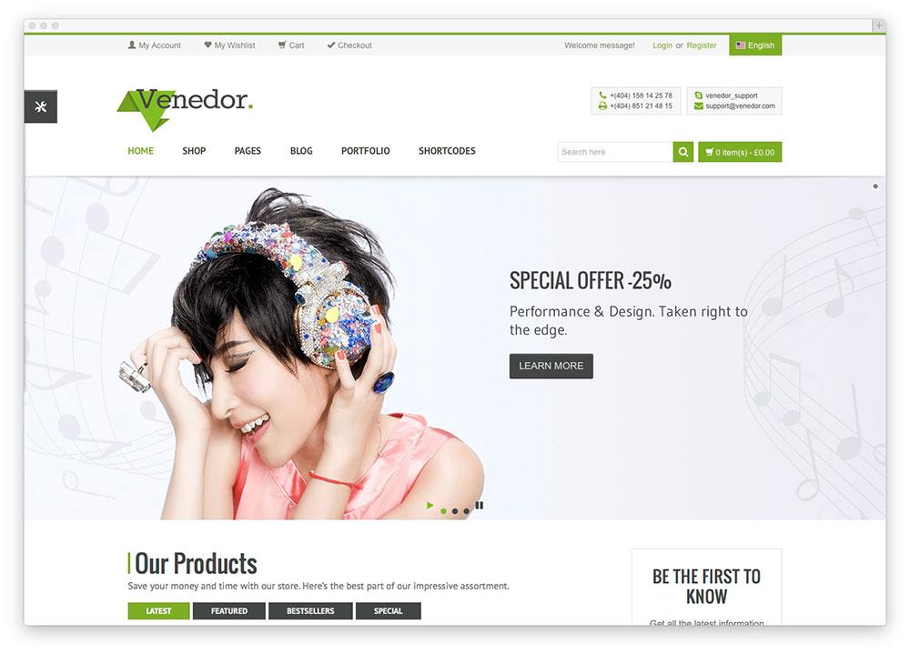 Venedor WordPress shop theme