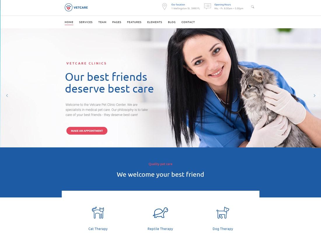 Vetcare Medical - Pet, Animal Doctor & Veterinarian WordPress Theme