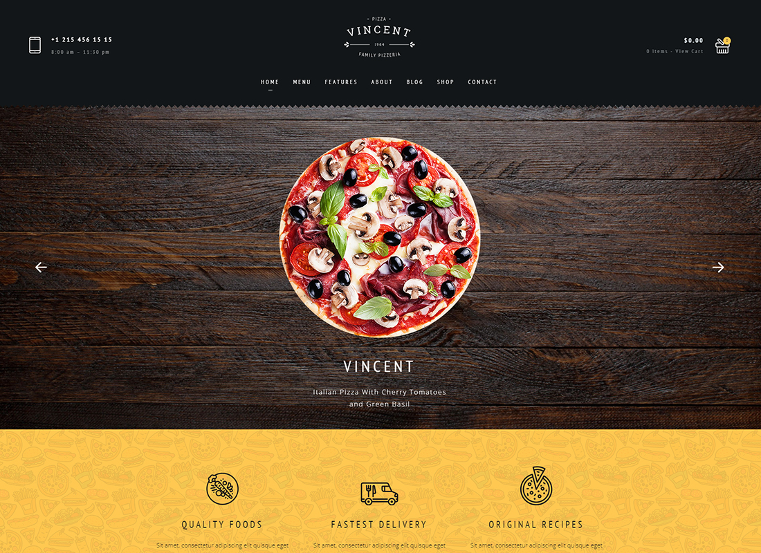 Restaurant - Vincent Restaurant WordPress for Restaurant