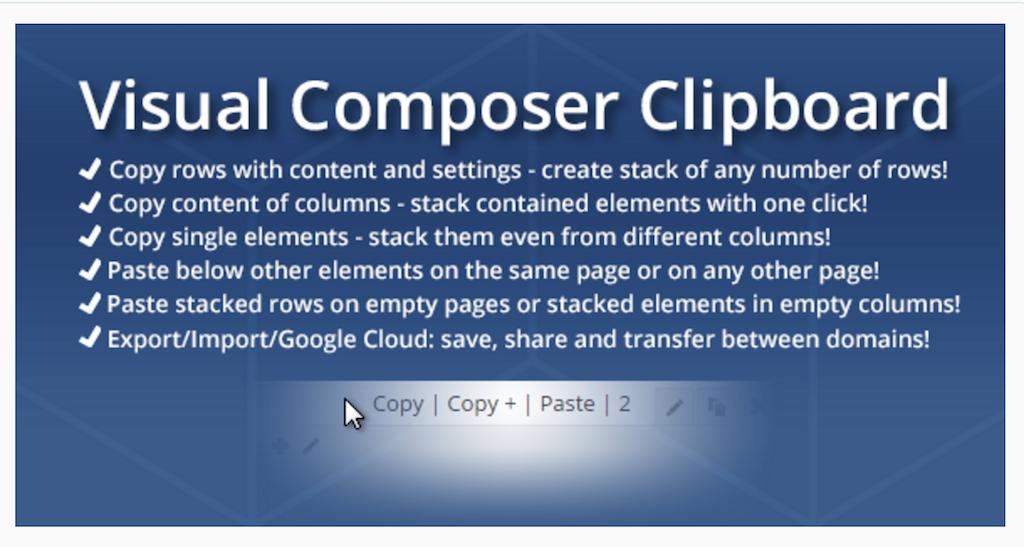 WPBakery Page Builder Clipboard WordPress