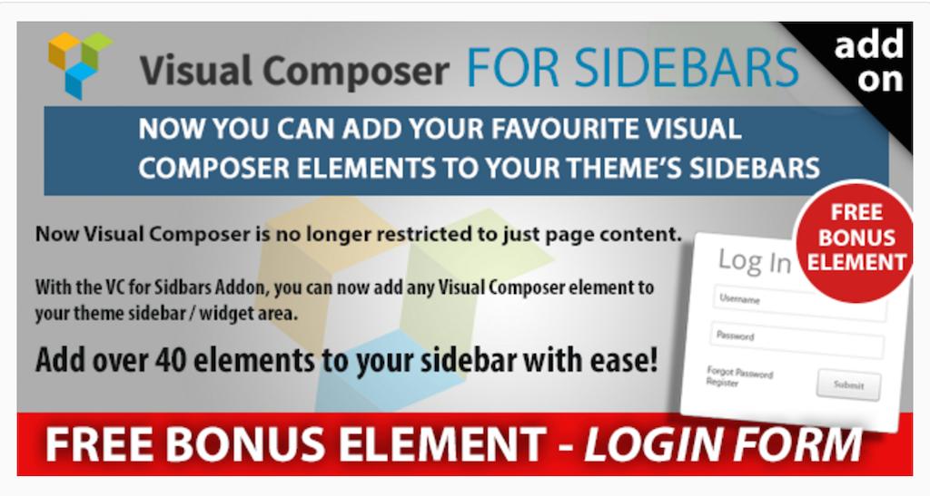 Visual Composer in Sidebars Addon WordPress