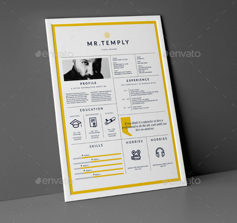 Visual Resume GraphicRiver  Graphic Designer Resume Template
