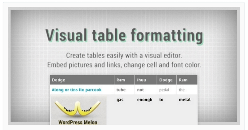 Visual Table Formatting