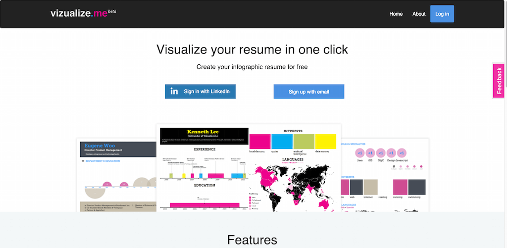 Vizualize.me Visualize your resume in one click.
