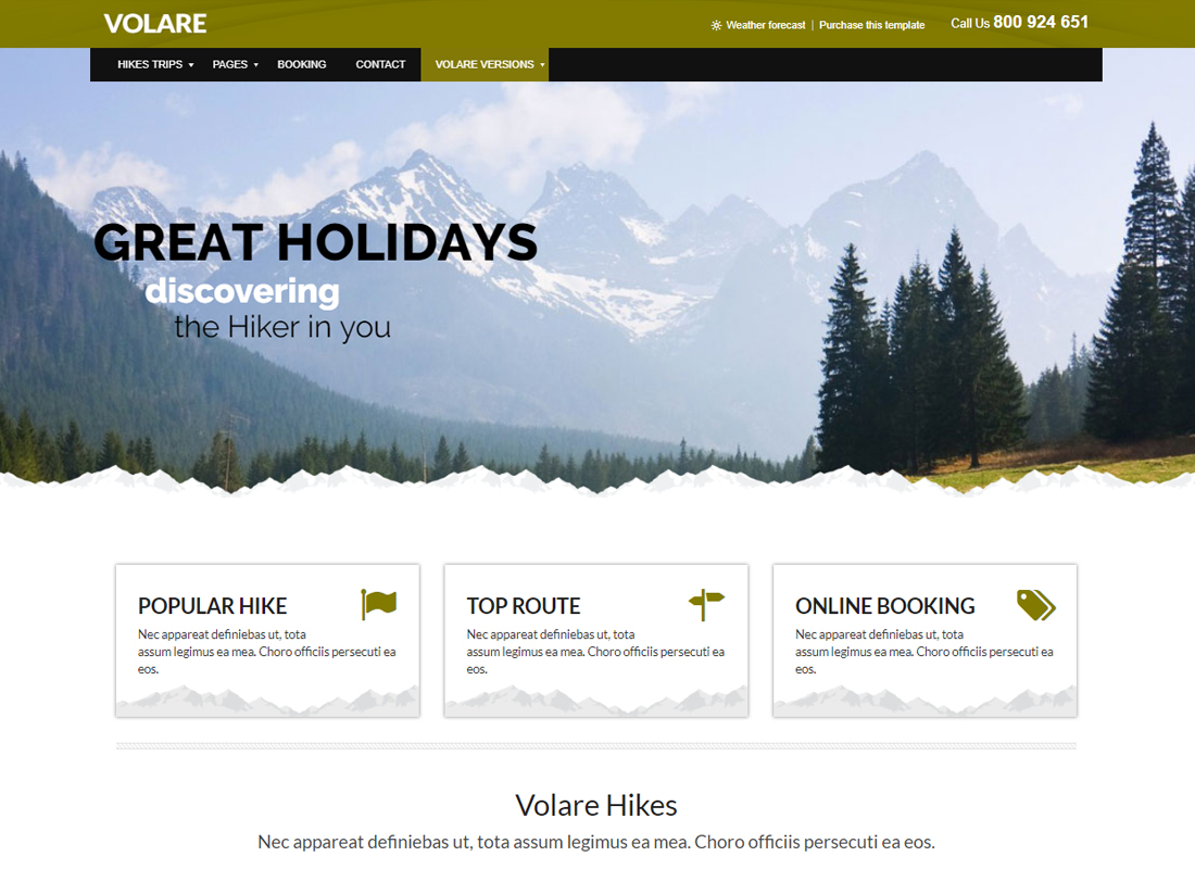 Volare | Trekking, Sailing, Diving WordPress Theme