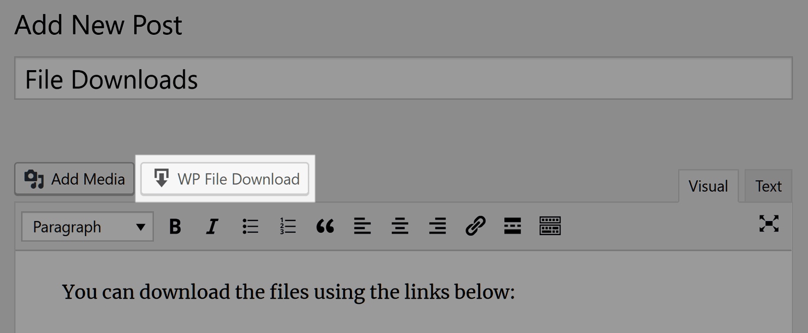 Post Editor Button